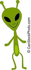 Smiling alien, illustration, vector on white background.