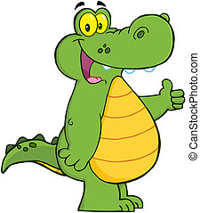 Smiling Alligator Or Crocodile Showing Thumbs Up