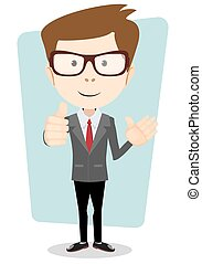 Smiling and friendly waving cartoon business man or teacher giving the thumbs up.