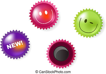 Smiling And News Icons Of Magnets - Set Of Smiling, Winking...