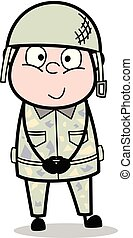 Smiling and Staring - Cute Army Man Cartoon Soldier Vector Illustration