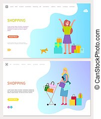 Smiling and Walking Girl with Purchases Vector