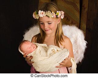 Smiling angel in nativity scene