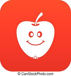 Smiling apple icon digital red
