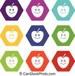 Smiling apple icon set color hexahedron