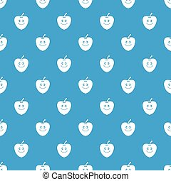 Smiling apple pattern seamless blue