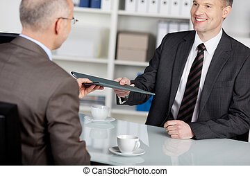 Smiling applicant in job interview - Smiling applicant...