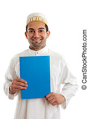 Smiling arab man with brochure