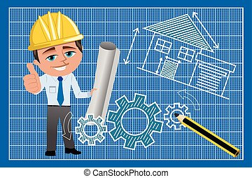 Smiling architect with helmet and thumb up holding blueprint against technical drawing blueprint