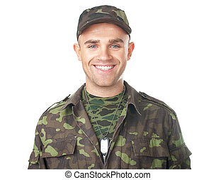 Smiling army soldier
