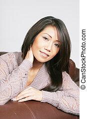Smiling asian american