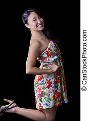 Smiling Asian American Woman Dress Standing Studio