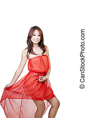 Smiling Asian American Woman Orange Dress Skinny