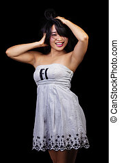 Smiling Asian American Woman Portrait White Dress