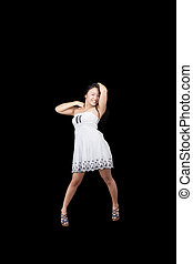 Smiling Asian American Woman Standing White Dress