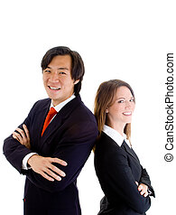 Smiling Asian Business Man Woman Back-to-Back