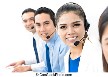 Asian call center (or telemarketer) team