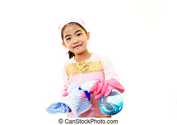 Smiling Asian girl cleaning