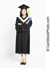 smiling asian girl graduation with diploma