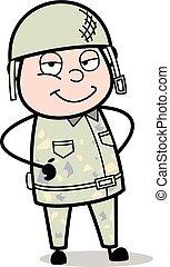 Smiling Attitude - Cute Army Man Cartoon Soldier Vector Illustration