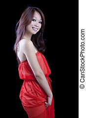 Smiling Attractive Asian American Woman Orange Dress