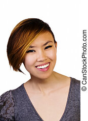 Smiling Attractive Asian American Woman Portrait Sweater