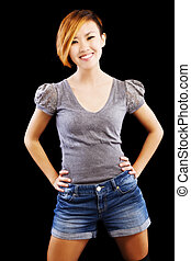 Smiling Attractive Asian American Woman Standing Shorts