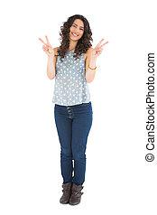 Smiling attractive brunette posing