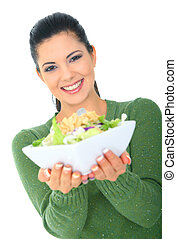 Smiling Attractive Girl Offering Salad