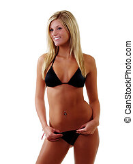 Smiling Attractive Skinny Caucasian Woman Black Bikini