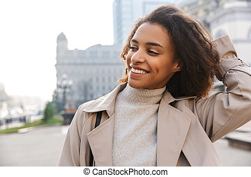 Smiling attractive young african woman