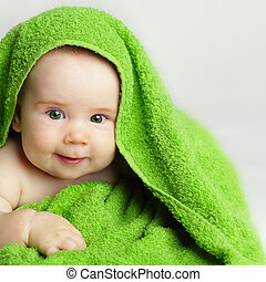 Smiling baby after bath