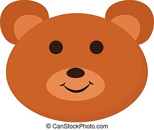 Smiling baby bear , vector or color illustration