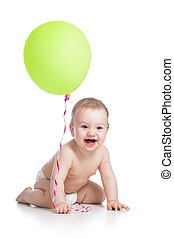 Smiling baby boy  with green ballon in his hand isolated on white