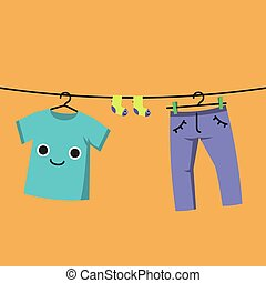 Smiling Baby clothes on clothes line, Habituate kid card.