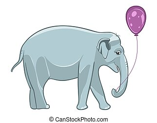 Smiling baby elephant with purple balloon.