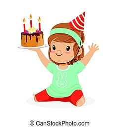 Smiling baby girl wearing a red party hat sitting and holding birthday cake with three candles. Childrens birthday party colorful cartoon character vector Illustration