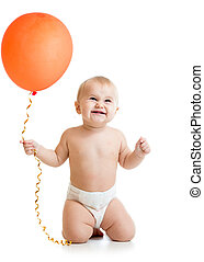 Smiling baby girl with red  ballon in her hand isolated on white