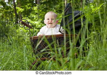 Smiling baby in nature