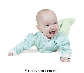 smiling baby on white background
