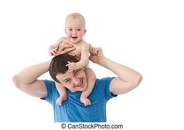 smiling baby son riding fathers shoulders isolated