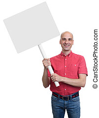 smiling bald man holding a blank sign board.