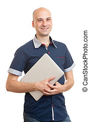 smiling bald young man with laptop - Portrait of smiling...