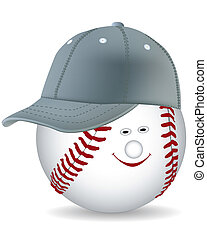 smiling ball in a baseball cap