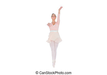 Smiling ballerina with her arms extended on white background...