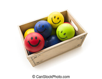 Smiling Balls in the box - colorful Smiling Balls in the...