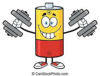 Smiling Battery With Dumbbells