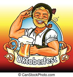 Smiling Bavarian man with beer and smoking pipe, Oktoberfest label with ribbon banner and space for text, isolated