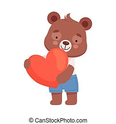 Smiling Bear Character Holding Red Heart in His Paws Vector Illustration