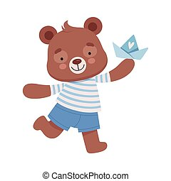 Smiling Bear Character Wearing Stripped Vest Carrying Toy Boat Vector Illustration